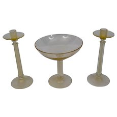 Archimede Seguso Murano Venetian Glass Tall Candlesticks Footed Bowl Gold Details