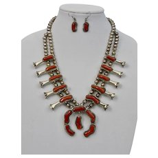 Navajo Squash Blossom Necklace Earrings Set Red Coral Sterling Silver Signed