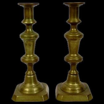 English Brass Candlesticks 19th Century Pair