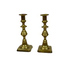 English Brass Candlesticks 19th Century Pair
