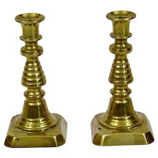 English Brass Miniature Candlesticks 19th Century Pair