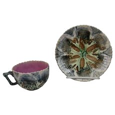 Etruscan Majolica Teacup and Saucer Seaweed Seashell c.1870's