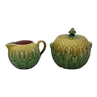 Majolica Sugar and Creamer Pineapple Pattern English c.1880
