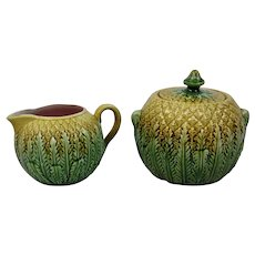 Majolica Sugar and Creamer Pineapple Pattern English c.1880