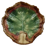 Majolica Begonia Single Leaf Dish Plate Vibrant Colors