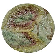 Majolica Overlapped Begonia Leaf Dish Plate