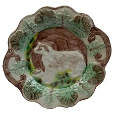Majolica Dog With House Handled Dish Plate