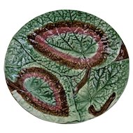 Majolica Double Overlapped Begonia Leaf Dish Plate