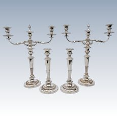 Matthew Boulton Old Sheffield Plate 4 Candlesticks 2 Candelabra Arms