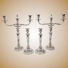 Matthew Boulton Old Sheffield Plate 4 Candlesticks 2 Candelabra Arms