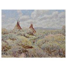 Frank Paul Sauerwein Oil Painting Native American Scene c.1906