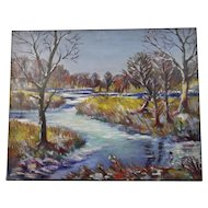 John Goossens Landscape Oil Painting c.1944 Fox River First Winter Day Northern Illinois