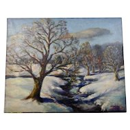 John Goossens Landscape Oil Painting c.1943 Creek in Winter Northern Illinois