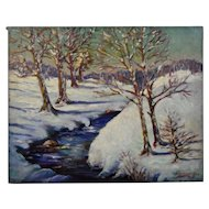 John Goossens Landscape Oil Painting c.1944 Winter Idyl Northern Illinois