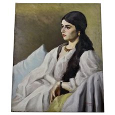 John Goossens Portrait Oil Painting c.1930 Beautiful Dark Haired Woman RESERVED FOR: Joanie