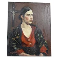 John Goossens Portrait Oil Painting c.1929 Dark Haired Woman with Cross