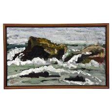 Seascape Rocks Waves Painting Lake Superior Carol Gorgas taipleNurmesniemi