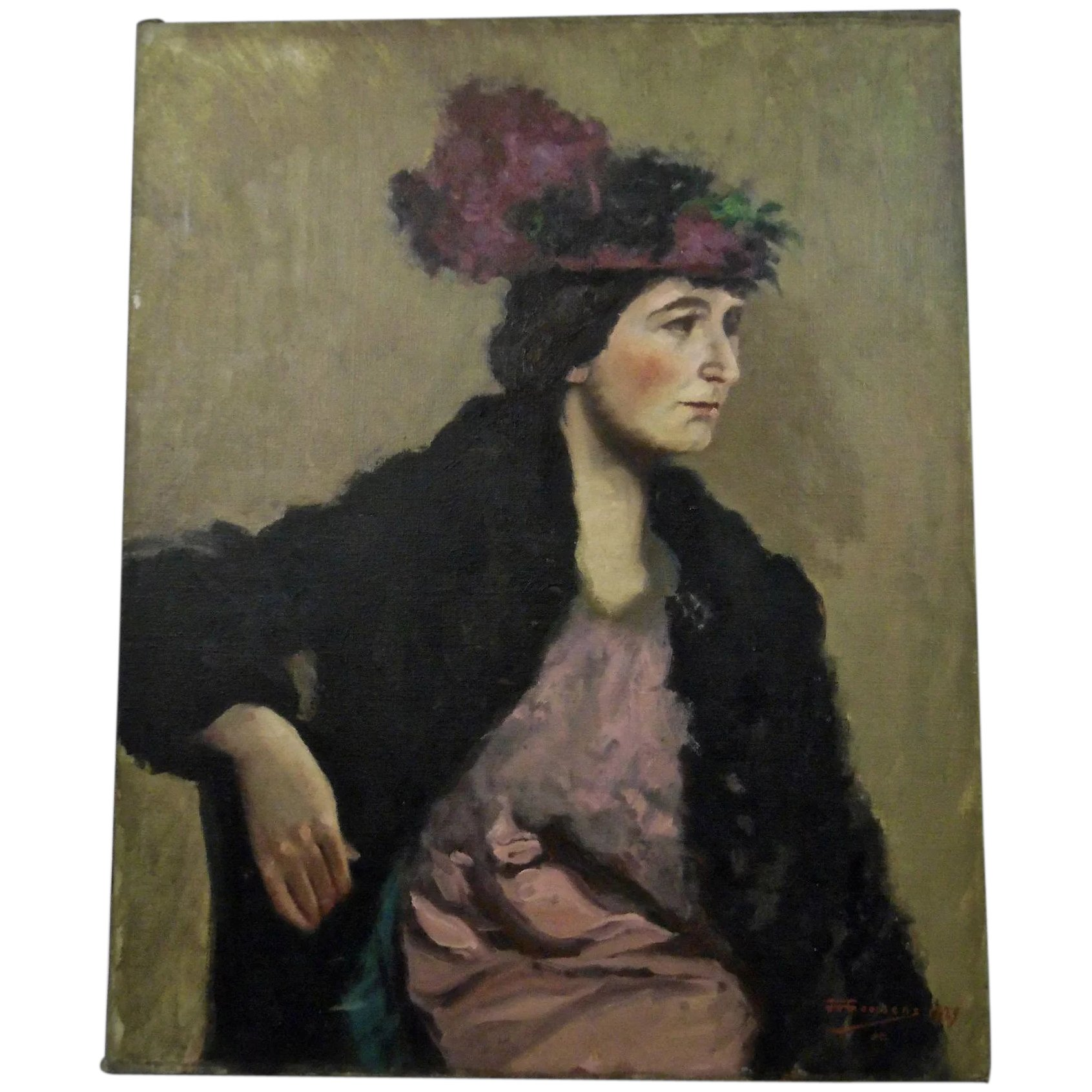 Goossens Design Bank.John Goossens Portrait Oil Painting C 1929 Dark Haired Woman With