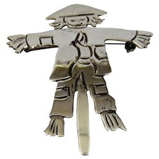 Modernist Scarecrow Pin Pendant ,925 Sterling Silver Mexico