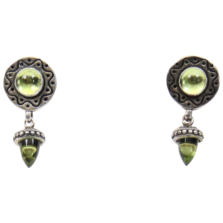 672a236a1 Green Peridot Drop Style Earrings Sterling Silver Nice Details Post :  Ahmeek Antiques and Decorative Arts, LLC | Ruby Lane
