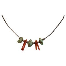 Native American Liquid Silver Choker Necklace Turquoise Nuggets Branch Coral 15 Inches