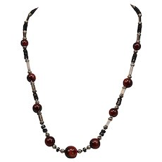 Native American Sterling Silver Beaded Necklace Carnelian Pipestone 23.5 Inches