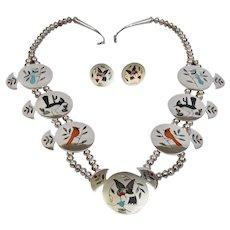Native American Zuni Squash Blossom Necklace & Earrings Derrick & Michelle Edaakie