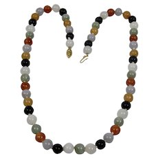Multi Colored Jade Necklace 6mm Round Stone Beads 14K Gold Clasp 21.5 inches