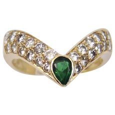 Emerald And Diamond Ring 14K Yellow Gold Setting Ring Size 6
