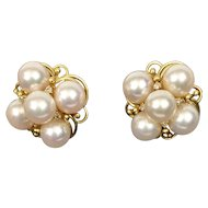 Cultured Pearls Cluster Style Diamond Pierced Clip Earrings 14K Yellow Gold