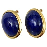 Oval Cabochon Lapis Lazuli Earrings 14K Gold Pierced Post Clip Style