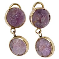 Carved Amethyst Drop Earrings 14K Gold Floral Motif Clip Style