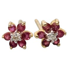 Rubies And Diamond Cluster Style Pierced Post Earrings 14K Gold