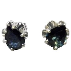 Pear Shaped Deep Blue Sapphire Stud Pierced Earrings 14K White Gold Floral Motif Settings