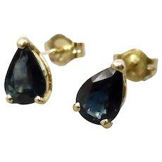 Pear Shaped Deep Blue Sapphire Stud Pierced Earrings 14K Yellow Gold Prong Basket Settings