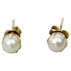 Cultured Pearl 5mm Stud Pierced Earrings 14K Yellow Gold Prong Settings