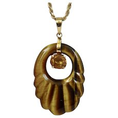Carved Tiger Eye Stone Pendant Facetted Gold Topaz Stone 14K Gold Setting