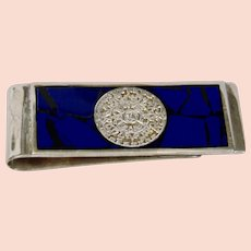 Sterling Silver Money Clip Blue Mosaic Inlay Aztec Calendar Motif Mexico