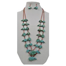 Fetish Necklace And Earrings Georgia Quandelacy Native American Zuni Turquoise Bears Red Coral