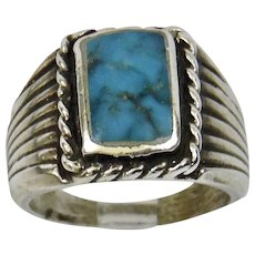 Mens Native American Sterling Silver Ring Turquoise Fine Details Size 10