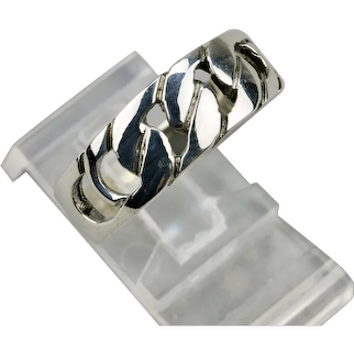 Sterling Silver Band Ring Reticulated Curb Link Details Mens Size 11