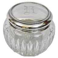 Cut Glass Faceted Crystal Large Dresser Jar Gorham Sterling Silver Lid