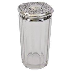 Cut Glass Panel Faceted Crystal Powder Shaker Dresser Jar Sterling Silver Lid