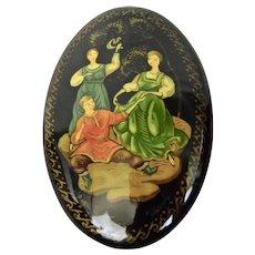 Russian Lacquer Pin Palekh Style Folk Tale Scene