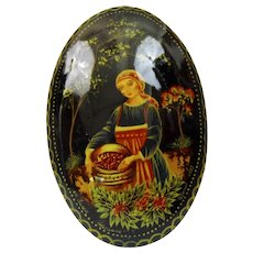 Russian Lacquer Pin Palekh Style Folk Tale Scene