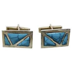 ffe2b9db0 Turquoise Alpaca Silver Cufflinks Modernist Style Alpaca Taxco Mexico