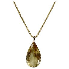 Pear Shaped Faceted Golden Citrine Pendant 14K Yellow Gold Reticulated Basket Setting