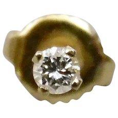 Single Diamond Pierced Screw Back Post Earring 14K