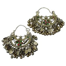 Tribal Style Hoop Pierced Earrings Nomadic Afghan Style Dangles And Glass Jewels