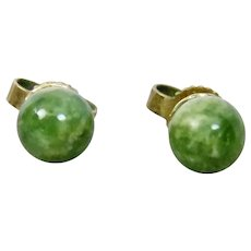 Green Jade Jadeite 5mm Post Style Pierced Earrings Gold Filled Settings